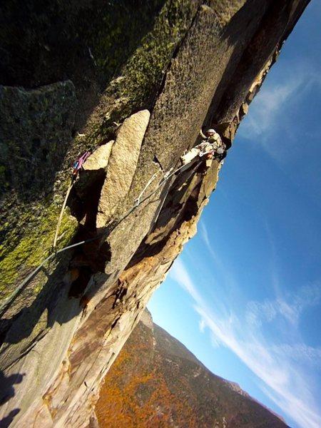 Rock Climbing Photo: moving toward the roof