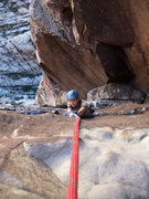 Rock Climbing Photo: Christy about to top out on P5 (per Handren) of Ep...