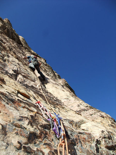 Rock Climbing Photo: Frank starting up P7