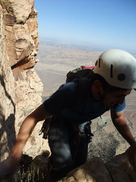 last of the roped bit (the choss roof) on our Inti/Resolution Arete link-up (P20 per Handren)