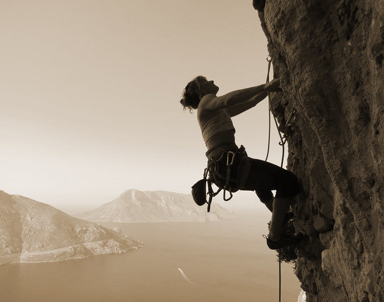 Rock Climbing Photo: Fiona beginning her journey to find the elusive 45...