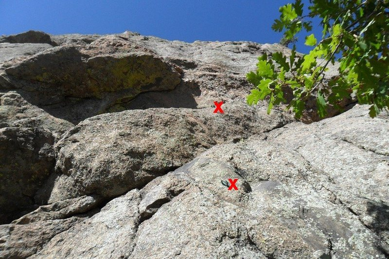 Rock Climbing Photo: First two bolts on Amp Left, showing the route goe...