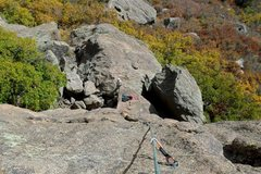 Rock Climbing Photo: Rightist, looking down from the 1st pitch anchors ...