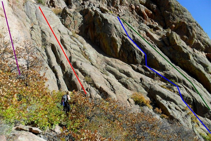 Rock Climbing Photo: Four climbs on the Great Big Wall: 1.  Purple line...