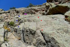 Rock Climbing Photo: Hanging Judge follows the left route bolts marked ...