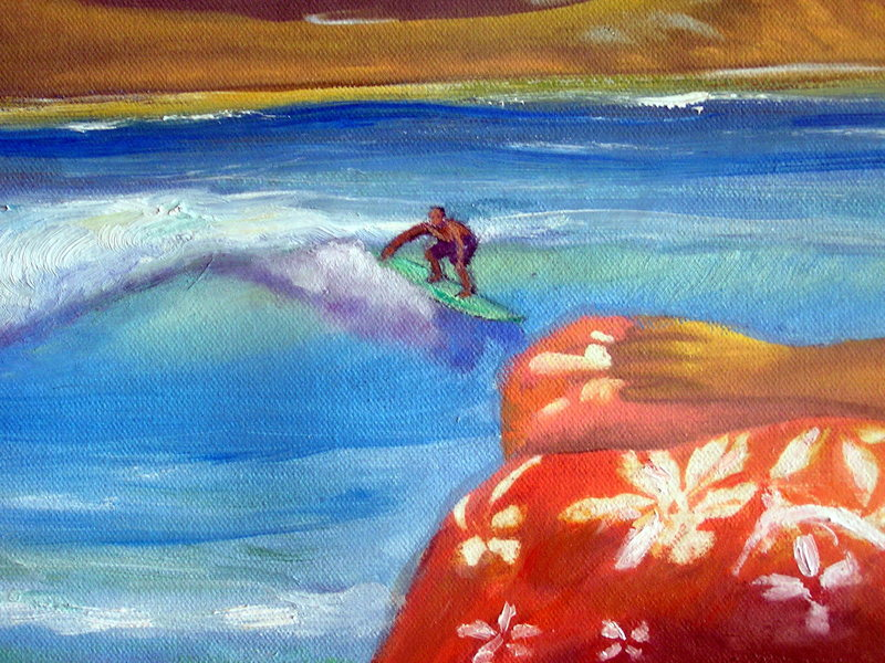 Surfer: Olaf Mitchell<br> Original oil painting: Karen Lang<br> Photo: Olaf Mitchell