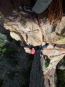 "Rock Climbing Photo: Aaron is following the steep ""5.9"" pitch..."