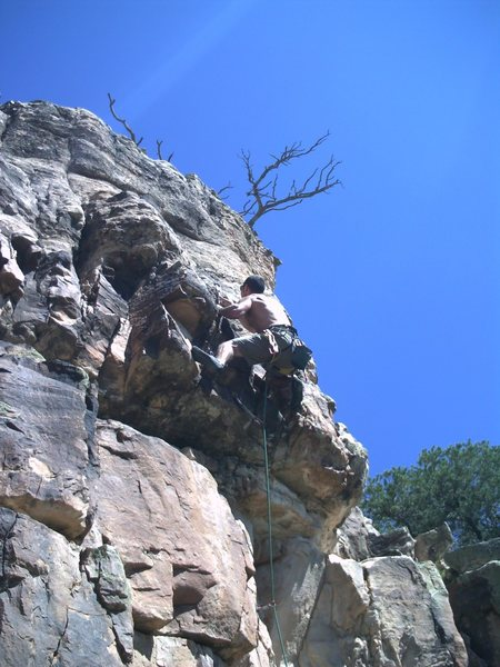 John clearing the crux.