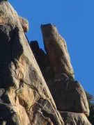 "Rock Climbing Photo: Upper portion of Desdemona with the route ""Th..."