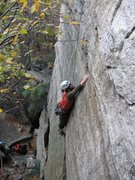 Rock Climbing Photo: Making the reach after traversing right around the...