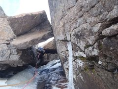 Rock Climbing Photo: Myself leading the mixed crux of the route with no...
