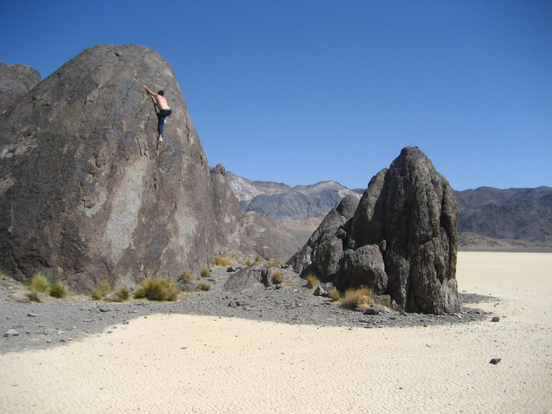 Climbing magazine reader photo of the month winner sept 2008 (i think thats when it was).  doing some bouldering at the grandstand, Death Valley NP.