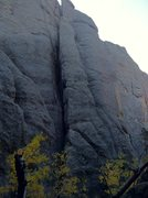 Rock Climbing Photo: At the anchors. A 60m rope just makes it to the gr...