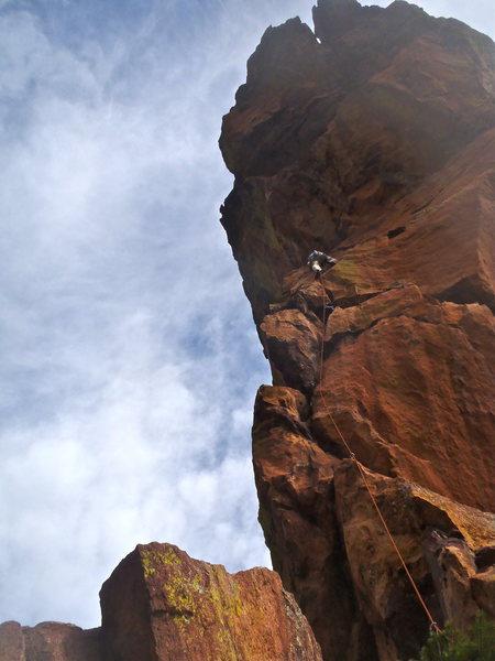 Rock Climbing Photo: Guy finishing up pitch 1.