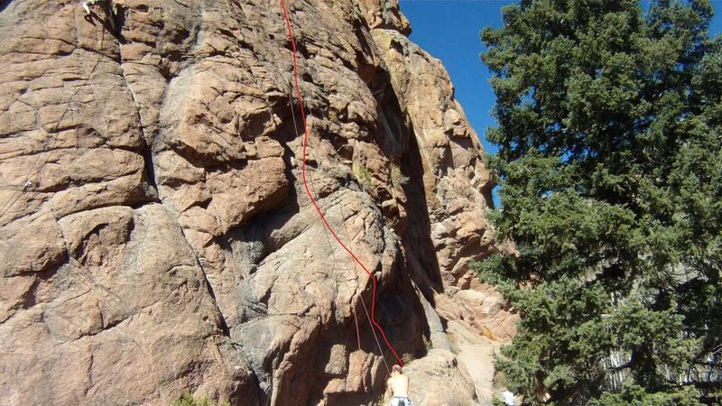 Rock Climbing Photo: The bottom of Mr. Hanky, 5.10a.  The hardest moves...