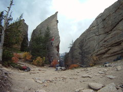 Rock Climbing Photo: Edge Of Time 5.9, on sight lead.  Great route, ver...