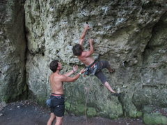 Rock Climbing Photo: Me on the first moves of Swingtime. That left hold...