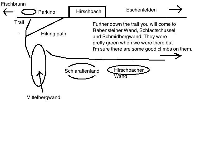 Very bad map of the climbing outside of Hirschbach.