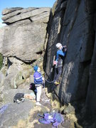 Rock Climbing Photo: The tricky start to Spider Crack (photo by Phil As...