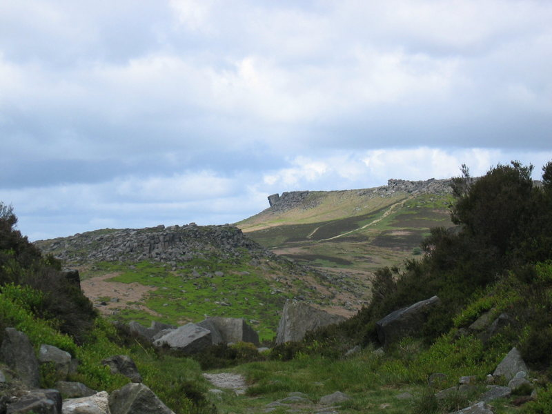 The Leaning Block seen from across the Burbage Valley (photo by Phil Ashton)