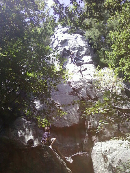 My sis climbing with at Devils Lake.