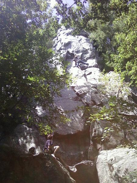 Rock Climbing Photo: My sis climbing with at Devils Lake.