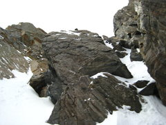 Rock Climbing Photo: I climbed up the rock/snow band on the right to av...
