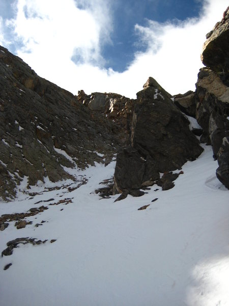 Second constriction high in the main couloir just below the left-angling branch.