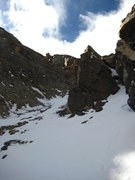Rock Climbing Photo: Second constriction high in the main couloir just ...
