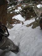 Rock Climbing Photo: Looking down mid-way up the upper left branch of T...
