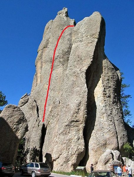 Rock Climbing Photo: For Whom the Bell Tolls follows the red line.