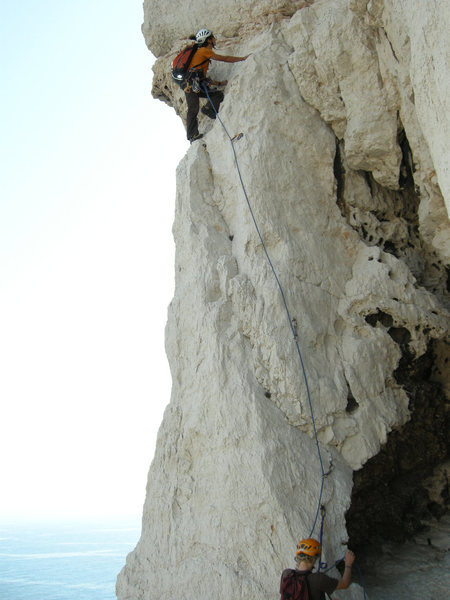 "Rock Climbing Photo: First pitch along the ""Momie"" (pitch 9)"