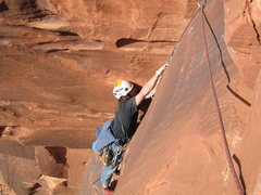 Rock Climbing Photo: The top section of the 4th pitch.  The varied size...