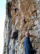 Rock Climbing Photo: Another day with Fiona cruxing on the sharp end—a...