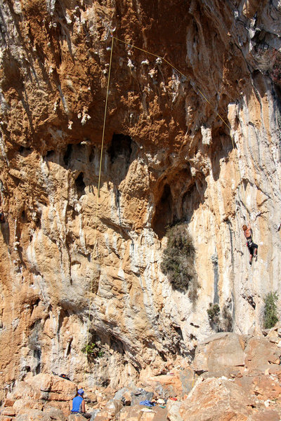 """Rock Climbing Photo: Cleaning """"Feuerdorn"""" is a world of suffe..."""