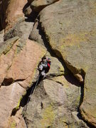 Rock Climbing Photo: Mike on an unknown crack.  Our second pitch.  West...