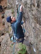 Rock Climbing Photo: Nick sticking the micro-crimps at the beginning