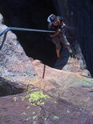 Rock Climbing Photo: Looking down the rappel of The Maiden.  Climber: R...