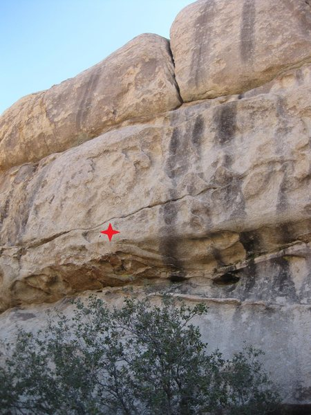 My Favorite Things 5.10c climbs past one rusty bolt just over the roof and face climbs up to the crack.  Yikes!