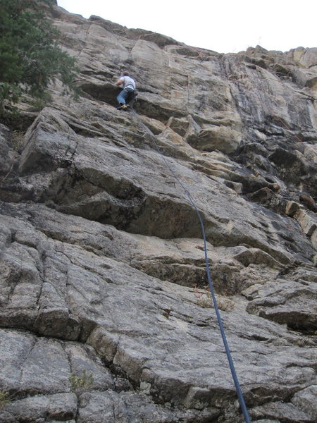 Mark Roth on Eagle Chick, getting ready for the start of the crux (hand traverse to mantle).