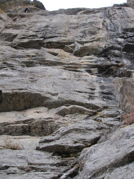 """Eagle Eyes route (center). Ascends a lieback seam where my crux was a """"layback high-heel mantle"""". Strenuous."""