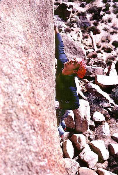 Dick Shockley looking for holds near the end of the traverse.... they weren't much better in 1981 either!