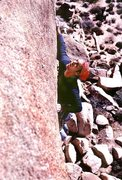 Rock Climbing Photo: Dick Shockley looking for holds near the end of th...