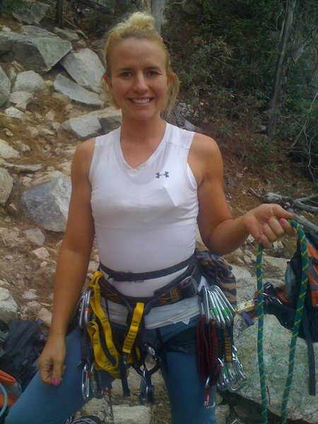 Rock Climbing Photo: Kristina ready to follow on the potential FA of &q...