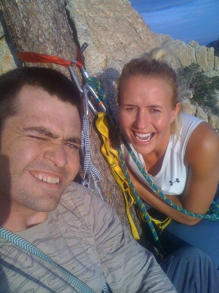 Kristina and I on the 2ed belay ledge (tree) with the tree that is the anchor and our primary (out of 2) sling anchor on the tree.