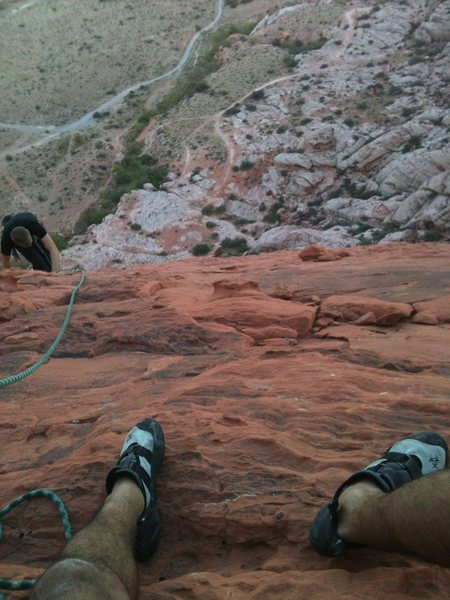 Rock Climbing Photo: View at the top of the route above the 3rd pitch.