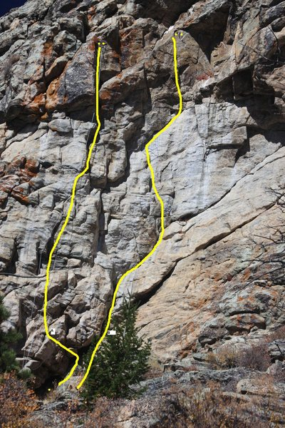 Rock Climbing Photo: Yogi's Choice is route (B) on the right. Route (A)...
