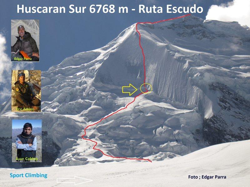 Presentación Especial<br> Escalada al Escudo del Huascarán Sur 6768 m.<br> Cordada Peruana: Una cordada de tres montañistas ascendió la ruta El Escudo, en la montaña más alta de Perú: el Huascarán (6,768 metros). El ascenso lo lograron el 17 de julio Juan Caldúa, Eric Albino (ambos peruanos) y Edgar Parra (Ecuador) en un recorrido de 15 horas en viaje redondo contado desde el campo avanzado 1 (5,350).<br> Tiempo: 45 minutos<br> País: Perú<br> http://www.inkafest.com/2011/pr7.htm<br> <br> VIDEO en Ascenso al Huascarán por El Escudo - Montañismo y Exploración - MEXICO PUBLICACIOJN POR@SEMICOLON@ Carlos Rangel Plasencia:<br> http://montanismo.org/articulos.php?id_sec=15&id_art=3400<br> http://www.facebook.com/media/set/?set=a.257060784308386.83023.194749743872824&type=3<br> http://www.facebook.com/media/set/?set=a.10150334906483193.342389.693683192&type=3<br> Climbing Huascaran by The Shield<br> Klettern Huascaran von The Shield.<br> Video en YOUTUBE:COM@SEMICOLON@ Nuevo.<br> http://www.youtube.com/watch?v=Fo16HTFXrs0<br>
