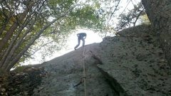 Rock Climbing Photo: Butt shot from the belay of Roll the Bones. This s...