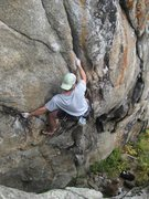 Rock Climbing Photo: Derek on the technical hand jams and laybacks mid-...